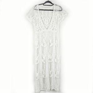 Gorgeous Boho White Lace Embroidered Maxi Dress